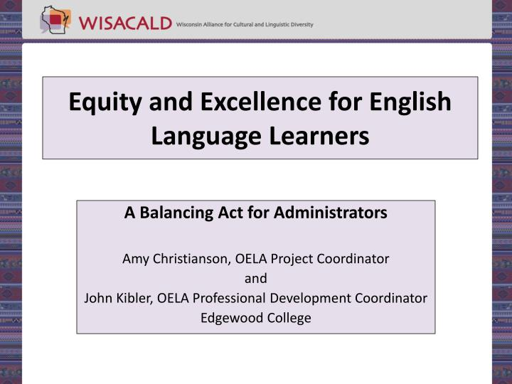 equity and excellence for english language learners n.