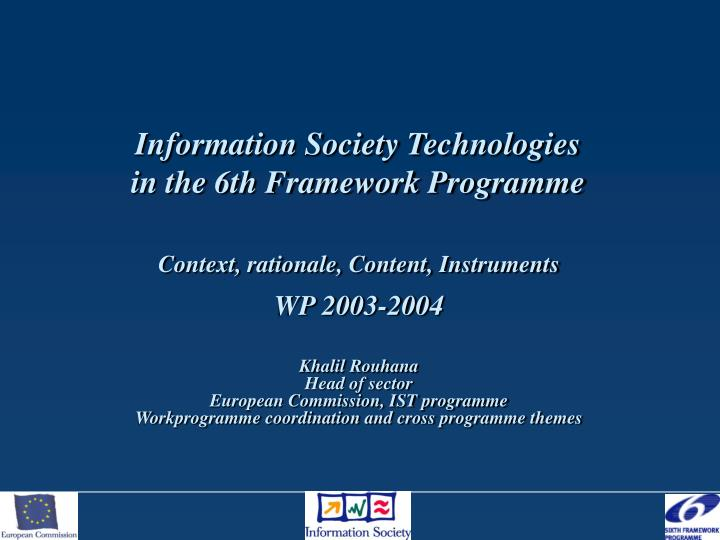 information society technologies in the 6th framework programme n.