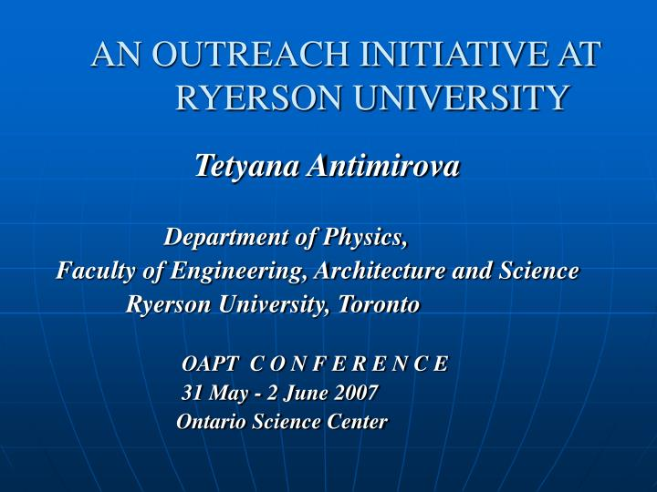 an outreach initiative at ryerson university n.