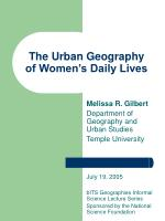 The Urban Geography of Women's Daily Lives