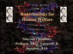 Biotechnology for Human Welfare