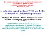 Li collection experiments on T-11M and T-10 in framework of Li closed loop concept