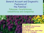 General Account and Diagnostic Features of the Families : Fabaceae, Cucurbitaceae,