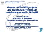 Results of FP6-NMP projects  and prospects of Russia-EC collaborations within FP7-NMP
