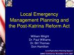 Local Emergency Management Planning and the Post-Katrina Reform Act