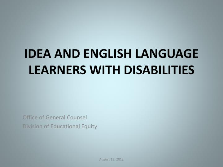 idea and english language learners with disabilities n.