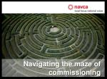 Navigating the maze of commissioning