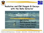 Radiative and EW Penguin B-Decays with the Belle Detector