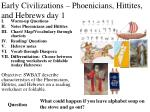 Early  C ivilizations – Phoenicians, Hittites, and Hebrews day 1