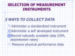 SELECTION OF MEASUREMENT INSTRUMENTS