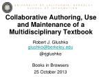 Collaborative Authoring, Use and Maintenance of a Multidisciplinary Textbook