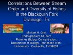 Correlations Between Stream Order and Diversity of Fishes in the Blackburn Fork Drainage, Tn.