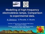 Modelling of high-frequency electrodeless lamps. Comparison to experimental data.