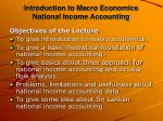 Introduction to Macro Economics National Income Accounting