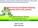 Radiative Forcing and Global Warming Potentials due to CH 4 and N 2 O