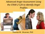 Advanced Anger Assessment Using the STAXI-2 C/A to Identify Anger Profiles