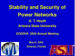 Stability and Security of Power Networks G. T. Heydt Arizona State University