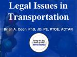 Legal Issues in Transportation