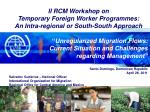 II RCM Workshop on Temporary Foreign Worker Programmes: