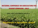 NATIONAL CONFRENCE ON AGRICULTURE FOR KHARIF COMPAIGN - 2013