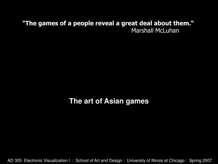 the art of asian games n.