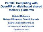 Parallel Computing with OpenMP on distributed shared memory platforms