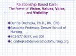 Relationship Based Care:  The Power of  Vision ,  Values ,  Voice , and  Visibility