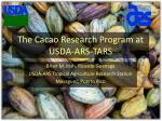 The Cacao Research Program at USDA-ARS-TARS