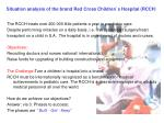 Situation analysis of the brand Red Cross Children`s Hospital (RCCH )