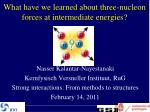 What have we learned about three-nucleon forces at intermediate energies?