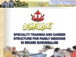 SPECIALTY TRAINING AND CAREER STRUCTURE FOR FAMILY MEDICINE IN BRUNEI DARUSSALAM