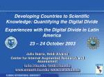 Developing Countries to Scientific Knowledge: Quantifying the Digital Divide