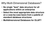 Why Multi-Dimensional Databases?