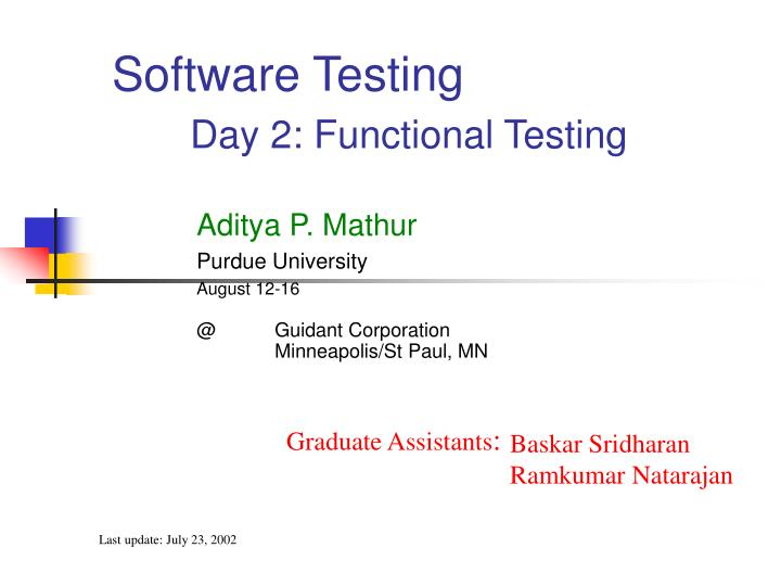 software testing day 2 functional testing n.