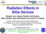 Radiation Effects in SiGe Devices