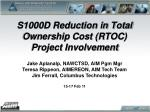 S1000D Reduction in Total Ownership Cost (RTOC) Project Involvement