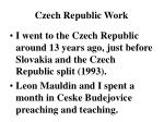 Czech Republic Work