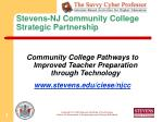 Stevens-NJ Community College Strategic Partnership