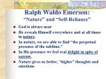 "Ralph Waldo Emerson: ""Nature"" and ""Self-Reliance"""