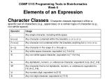 COMP 5115 Programming Tools in Bioinformatics Week 6 Elements of an Expression
