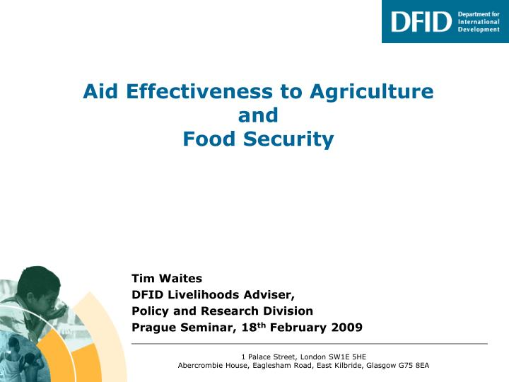 aid effectiveness to agriculture and food security n.
