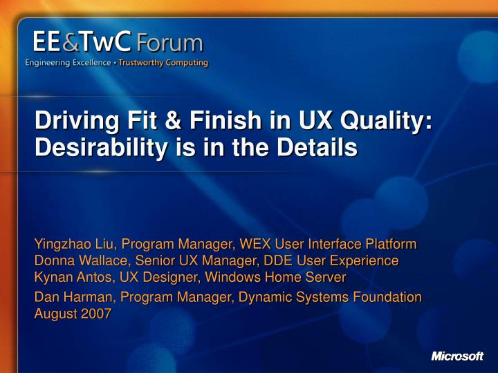 driving fit finish in ux quality desirability is in the details n.