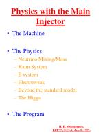 Physics with the Main Injector