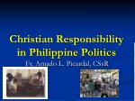 Christian Responsibility in Philippine Politics