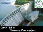 CHAPTER 4:  Unsteady flow in pipes