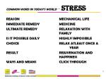 COMMON WORD IN TODAY'S WORLD - STRESS REASONMECHANICAL LIFE