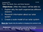 Lesson #13 Topic: The Earth, Sun, and Solar System