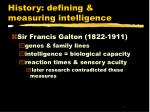 History: defining & measuring intelligence