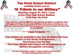 """The Petal School District  cordially invites you to  """"A Tribute to our Military"""""""