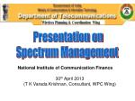 Presentation on  Spectrum Management